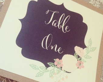 1 Rustic/Vintage Shabby chic Style 'Emily' wedding table number