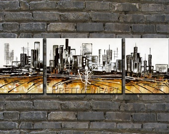 city painting,modern abstract painting for home decor,framed,ready to hang,huge 150x50cm