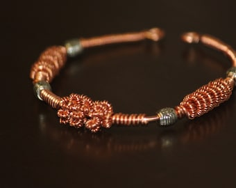 JW-1311-008 Copper wirework bracelet - copper cuff bracelet - copper wire bracelet - handcrafted copper bracelet - handmade jewelry