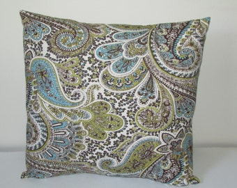 Paisley Chocolate Decorative Pillow Cover,Turquoise/Brown Accent Pillow Cover