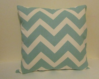 Blue  Chevron Decorative Throw Pillow, Village Blue/Natural  Zig Zag Pillow Cover