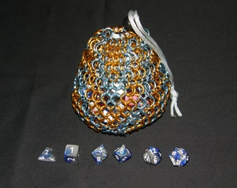 Chainmail Dice Bag, Large, Sky Blue and Orange: Ready to Order