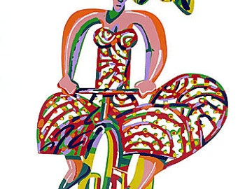 Original  Serigraph on Cutout Steel  Two Sides Painting by David Gerstein Abstract Woman on Bicycle