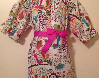 Birds 3/4 sleeve peasant dress-Choose your fabric