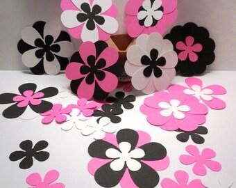 25 Die Cut Flowers -Scrapbooking, Die Cut, Flowers, Pink,Black, White, Die Cut Flowers,