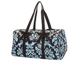 "Personalized Quilted Damask Duffel with Bows - Large 21"" Brown and Turquoise with brown accents - DAQ2701-BRTQ"