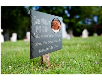 Photo Memorial Grave Plaque - Personalised for your loved one with verse & photo 25cm x 18cm