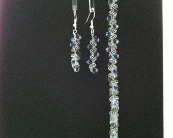 Lavender Swarovski Crystal Bracelet and Earrings