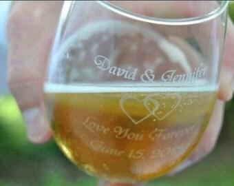 Set of 4 Custom Engraved Wine Glasses 12 oz