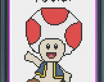 Nintendo Toad Counted Cross Stitch PDF Pattern - INSTANT DOWNLOAD