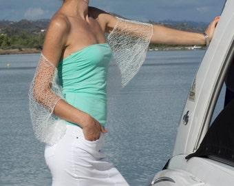 White mohair shrug bolero  Handmade knit shrug Loose knit