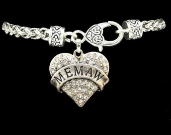 MEMAW Rhinestone Heart Charm Bracelet