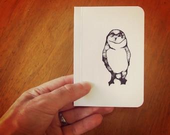 Illustrated Owl Decor Notebook, Pocket Journal, Original Handmade Mini Diary and Jotter, Woods Animal Art, Blank Paper Notebook