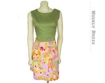 Green and Pink Atomic Pin Up Girls dress