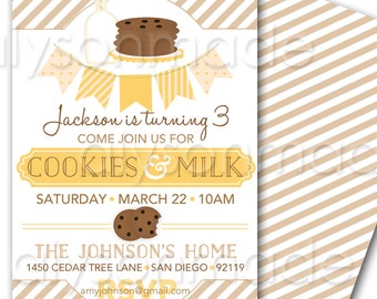 Cookies and Milk Party Invitation - Birthday Invite customized and personalized - digital file