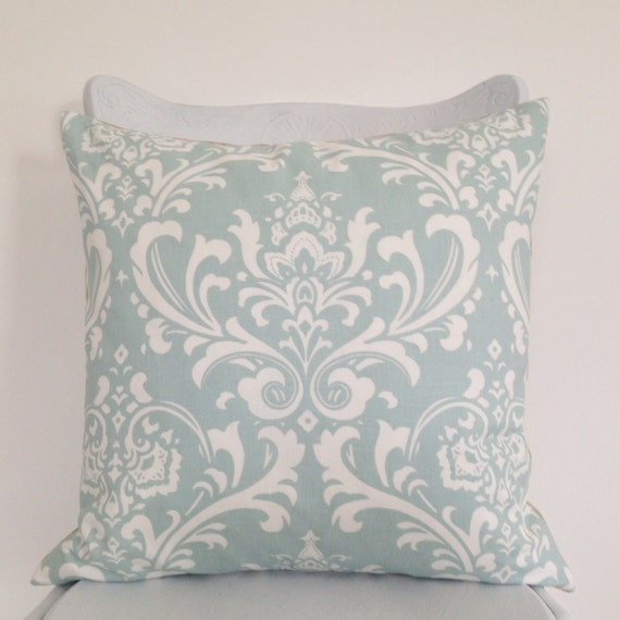 duck egg blue damask cushion cover natural flax linen. Black Bedroom Furniture Sets. Home Design Ideas