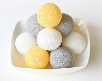 20 Loose Cotton Balls NOT INCLUDE String Lights, Fairy, Patio Party, Wedding Decor, Outdoor, Bedroom - Pastel Yellow Grey White