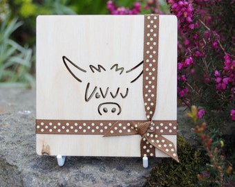 Wooden Highland Cow Coasters (Set of 4)