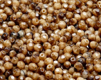 100pcs Czech Fire-Polished Faceted Glass Beads Round 4mm Brown/Coco Moonlight