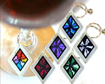 "Wine Glass Charms ""Serendipity!"" from rescued, repurposed window glass~When you don't want to share, mark your glass!"