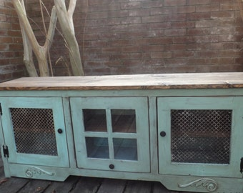 LowBoy Media/TV Console with Storage In Distressed Turquoise - Shabby Chic