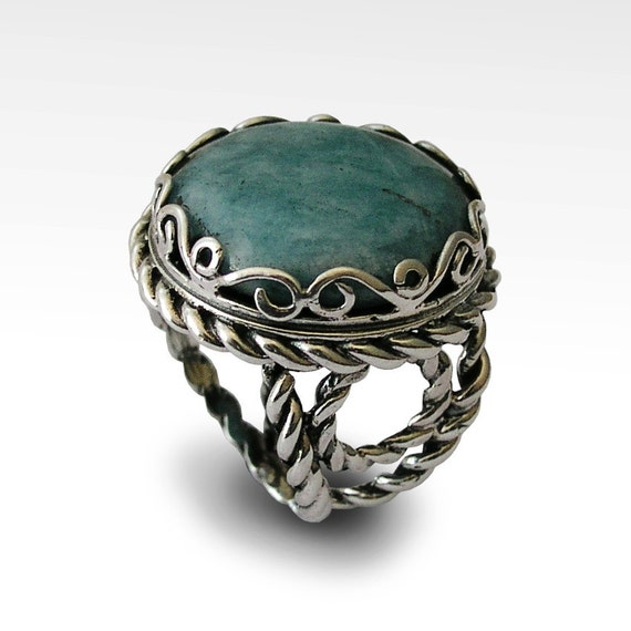 vintage style blue jade ring sterling silver by