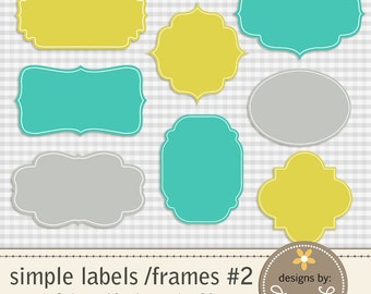 Digital Labels, Frames, Tags for Scrapping, Cards, Invitations, Commercial Use,  Instant download Lime, Turquoise and Gray colors