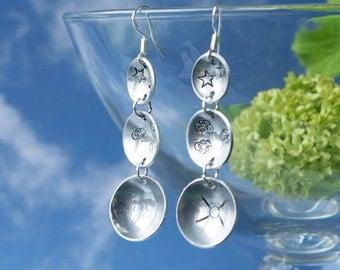 aluminium earrings, aluminum earrings, handmade aluminum earrings, handmade aluminium earrings, EARTH STATION, sterling silver earwires