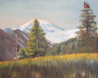 Vintage Oil Painting Mountain Landscape Impressionism
