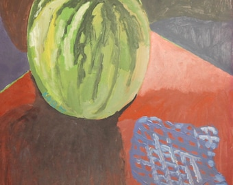 1975 Oil Painting Still life With Watermelon Signed
