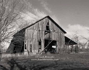 Black and White Fine Art Photography: Old Texas Barn, Fine Art Print, Rural Texas, Old Barns, Weathered Barns
