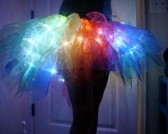 Rainbow Spectrum Light Up Tapered Bustle Tutu Skirt for Adults in Organza for Pride / Halloween / Burning Man / Cosplay / Costume