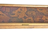 Vintage Wooden Map Jewelry Box