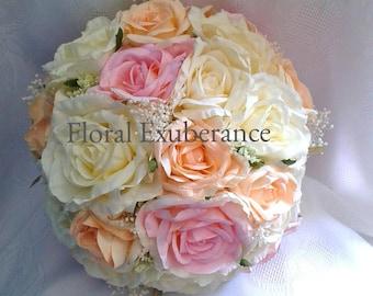 Peach Silk Rose Bridal Posy Bouquet wedding flowers