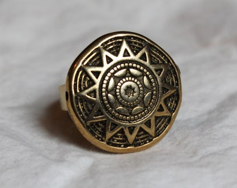Handmade Gold and Black Tribal Adjustable Ring