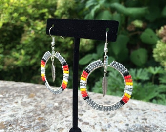 Beaded Hoop with Feather Earring
