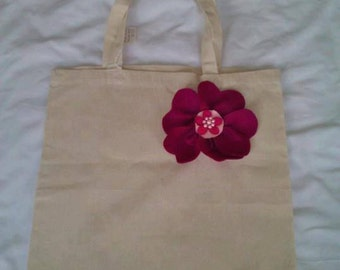 Tote bag with pink felt corsage for decoration - hand sewn