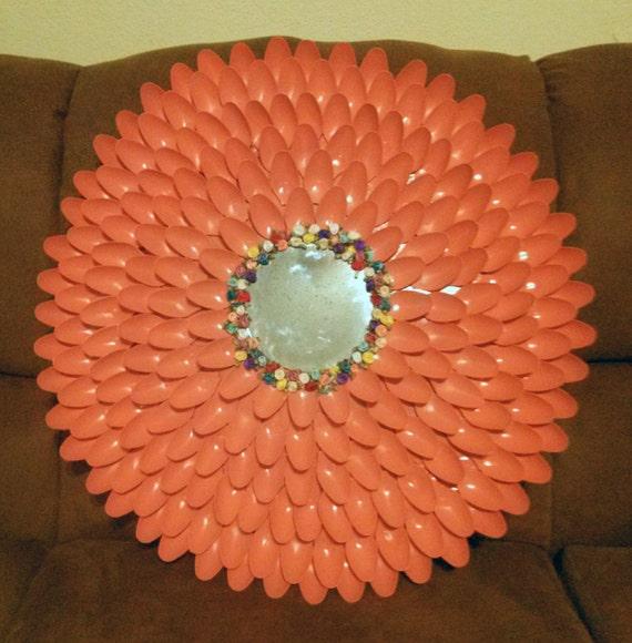 Items similar to plastic spoon flower mirror on etsy for Plastic spoon flower mirror