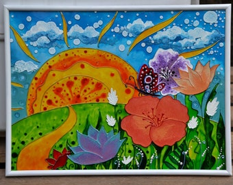 "Glass painting ""Summer Flowers"", hand painted glass"