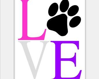 Puppy Dog Nursery Art - Puppy Paw Print Wall Decal - LOVE Puppy Nursery - Dog Lover - Kids Art - Pink and Purple Nursery 8x10 inch print
