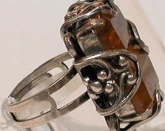 "French Ring ""Amber Glace"":  Silver with Amber Glass Cabochan Center; Adjustable"
