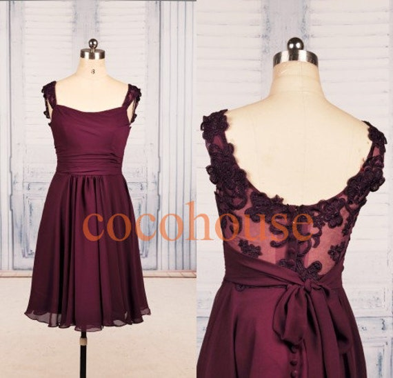 Burgundy Lace Chiffon Short Prom Dresses Formal Bridesmaid Dresses Party Dresses Homecoming Dresses Evening Dresses Wedding Party Dresses
