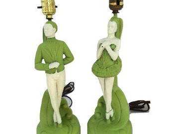 Vintage dancers/figurine lamps (set of 2)