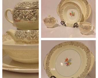 """The Salem China Co. 13 3/4"""" Serving Platter In The """"Sovereign"""" 23K Gold Filigree with Floral Pattern"""