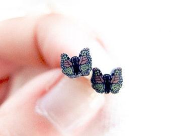 Autumn Butterfly Studs, Retro Tiny Studs Earrings, Butterfly Jewelry, Small Butterfly Stud Earrings