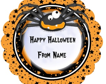 Halloween Stickers, Gift Tags Personalized Labels, Halloween Favor Stickers Halloween orange spider
