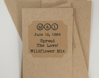 Wildflower seed packet | Personalized shower favor | Seeds included