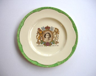 1953 Clarice Cliff Newport Pottery Vintage Souvenir Plate of the Coronation of Queen Elizabeth II Art Deco Commemorative Plate