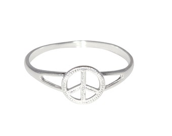 Sterling Silver .925 Peace Sign Ring Sizes 4 - 10 Available | Made in USA