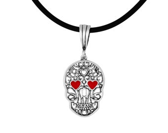 Sterling Silver .925 Skull with Heart Shaped Red Eyes Charm Pendant Necklace | Made In USA